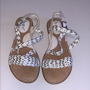 b.o.c. Braided white leather sandals size 6